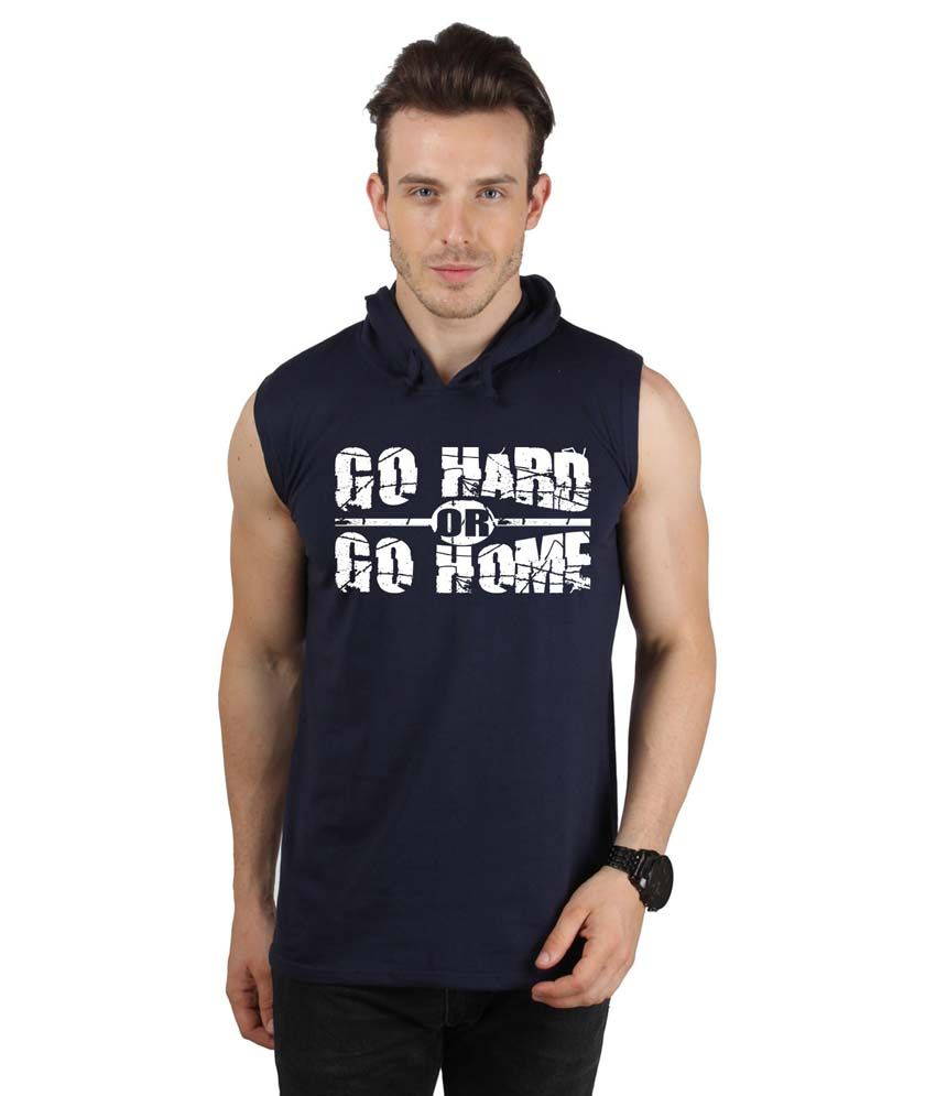 Sayitloud Navy Cotton Hooded T-Shirt