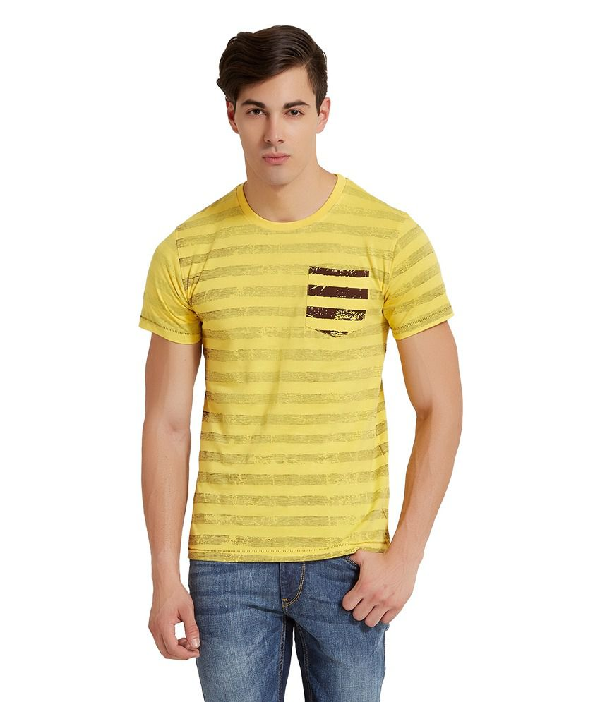 Elaborado Yellow Cotton Half Sleeves T Shirt