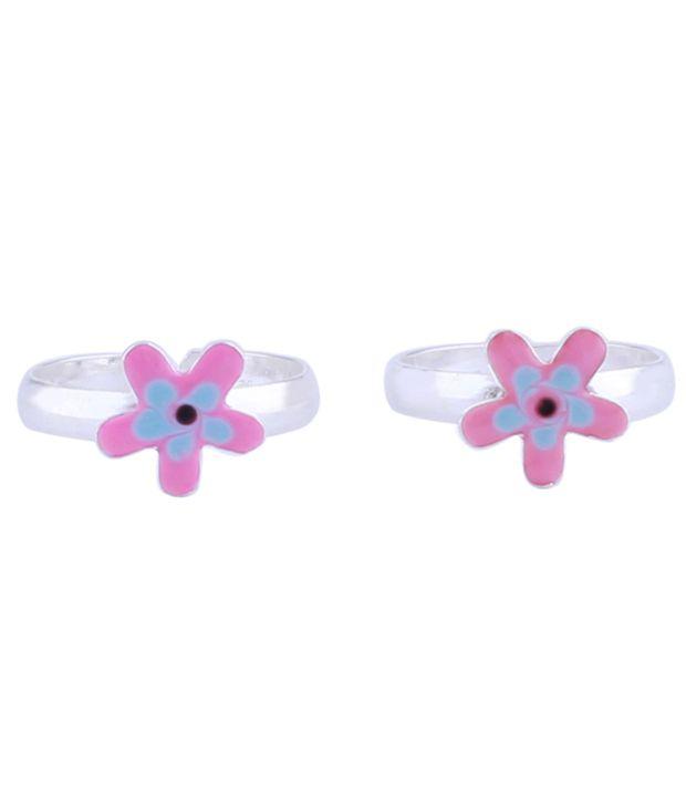 Aashirwad Silver Flower Toe Ring
