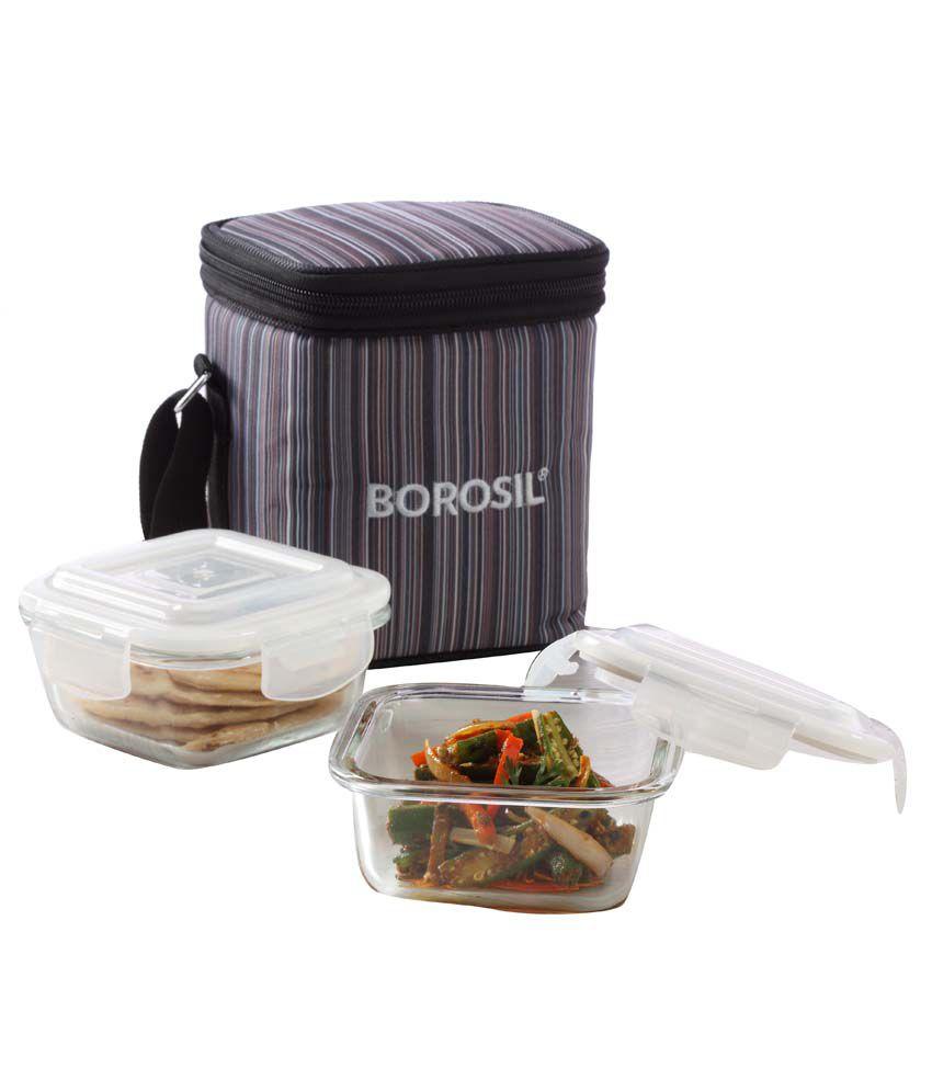 borosil klipnstore square glass lunch box 320 ml grey set of 2