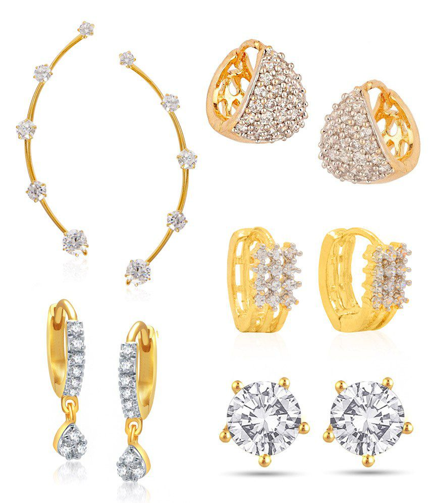 Jewels Galaxy Golden Alloy Earrings With Earcuffs Combo Of 5