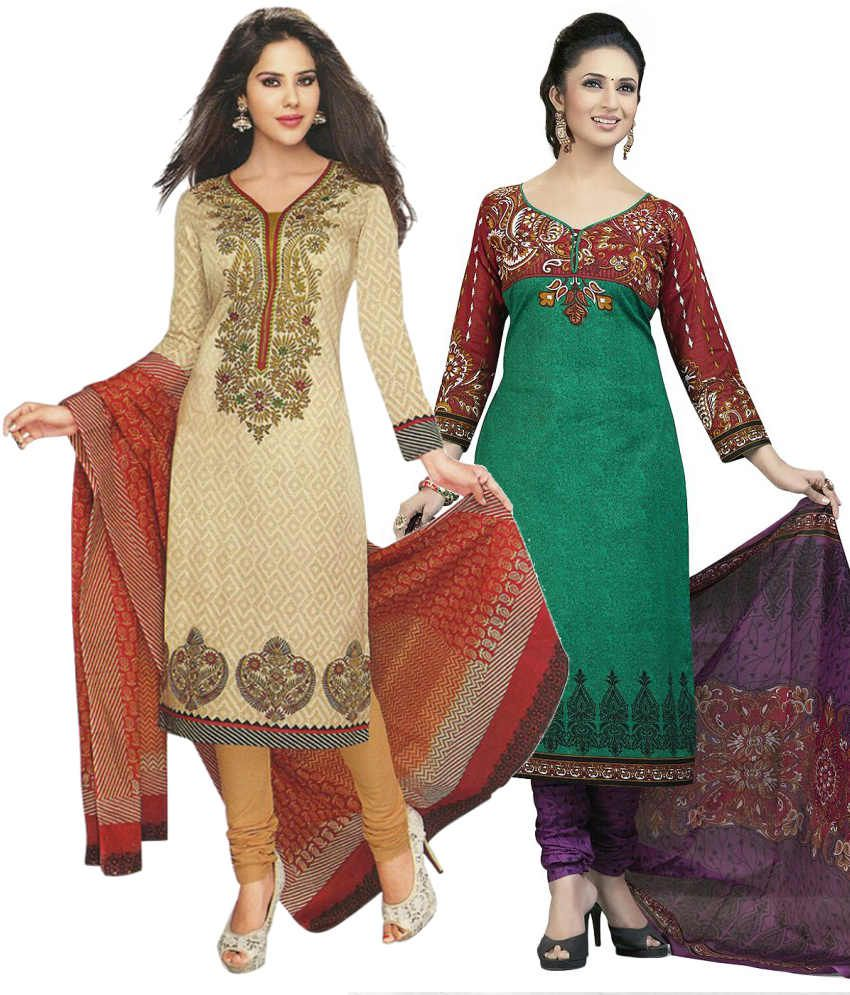 Mega Cotton Combo of Beige and Green Cotton Unstitched Dress Materials (Set of 2)