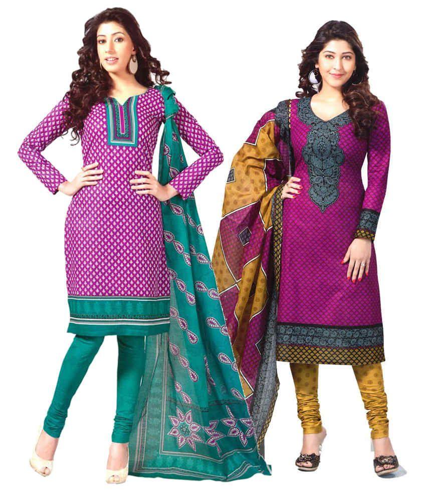 Mega Cotton Combo of Purple Cotton Unstitched Dress Materials (Set of 2)