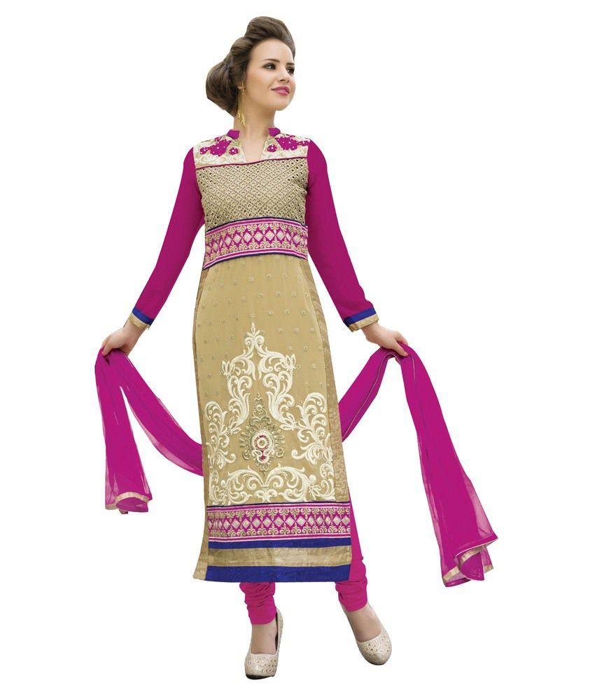 Svm Beige Pure Georgette Unstitched Dress Material