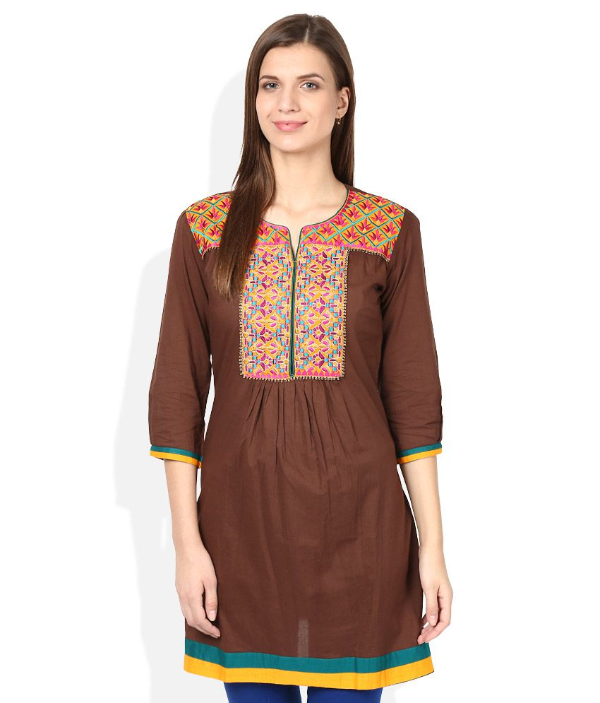 Gili Brown Cotton A-line Kurti