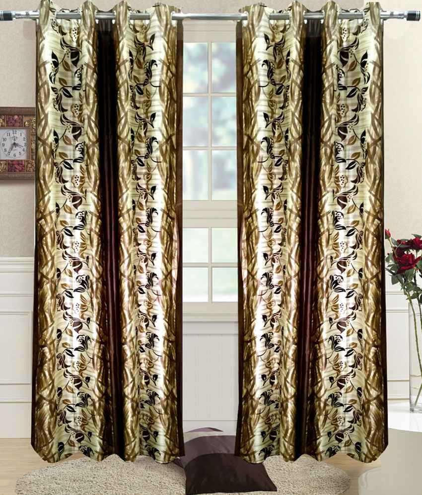 Homefab India Set of 2 Door Eyelet Curtains Contemporary Brown