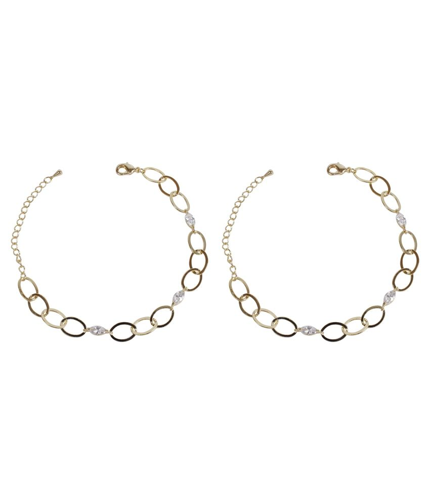 Much More New Trandy Link Chain Design Gold Plated 1 Pair Fashion Anklet/Payal For Women