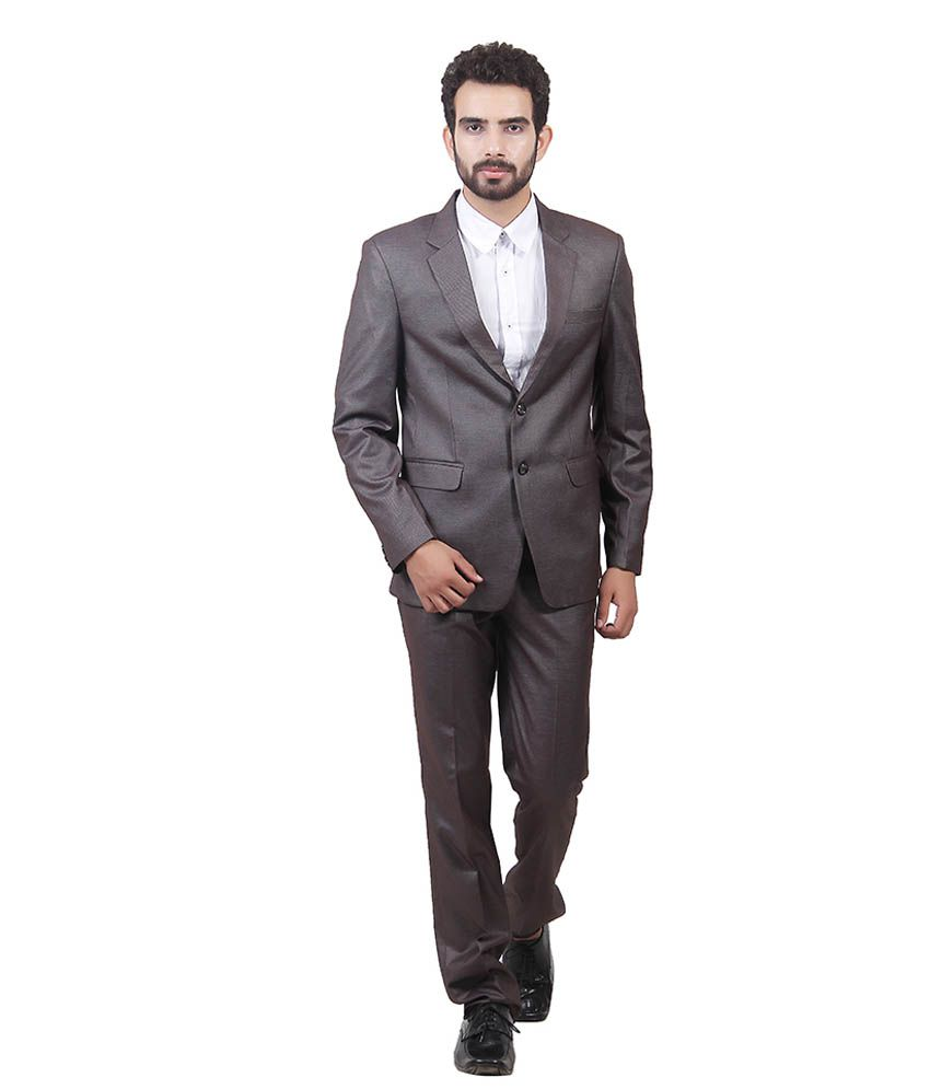 Saara Fashions Brown Cotton Blend Formal Suit