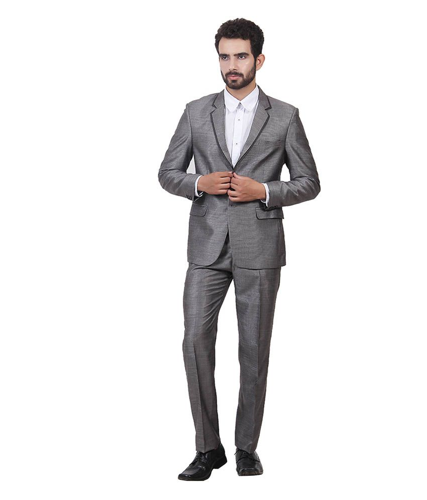 Saara Fashions Grey Cotton Blend Formal Suit