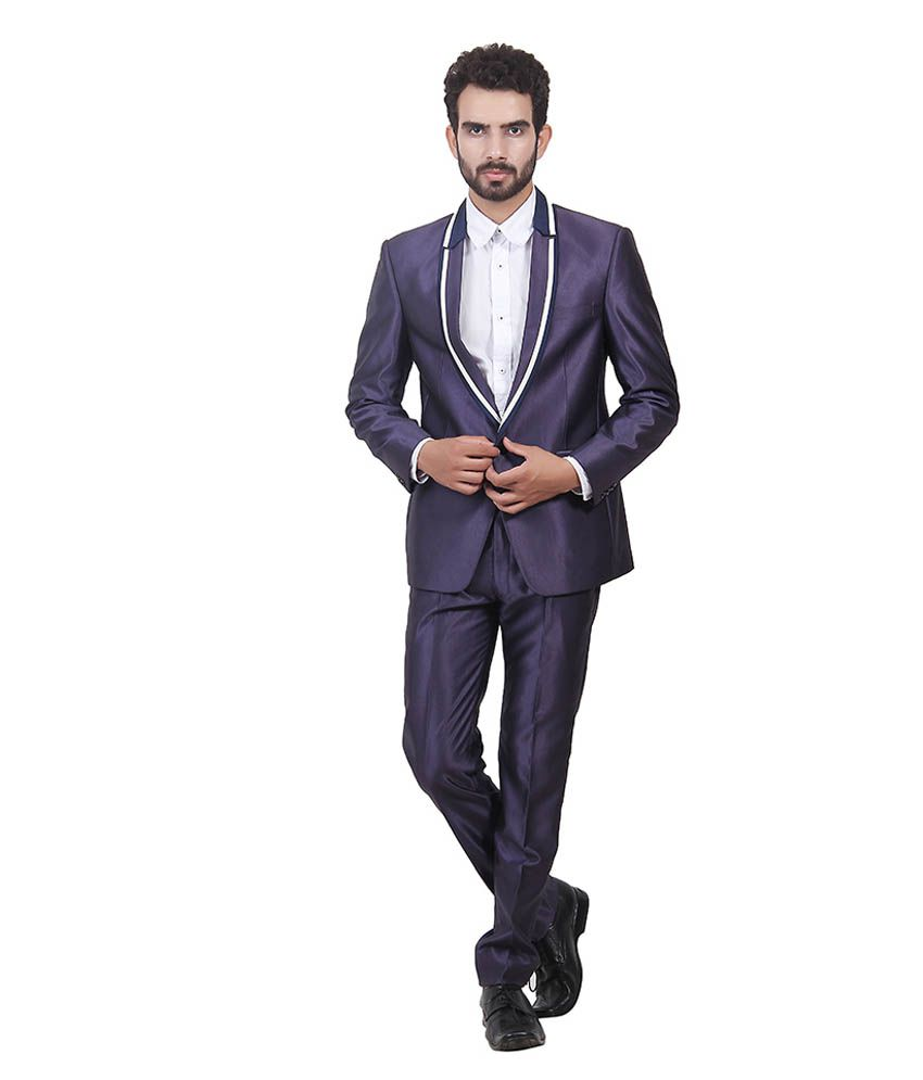 Saara Fashions Purple Cotton Blend Formal Suit