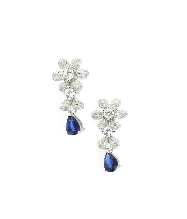 Swank Silver 92.5 Sterling Silver Colour Spark Self Certified Drop Earrings