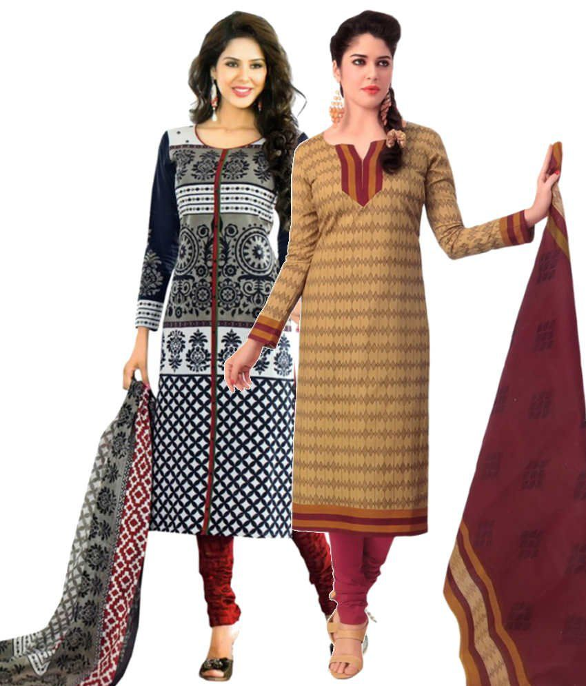 Divi Combo of Navy and Brown Cotton Unstitched Dress Materials (Set of 2)