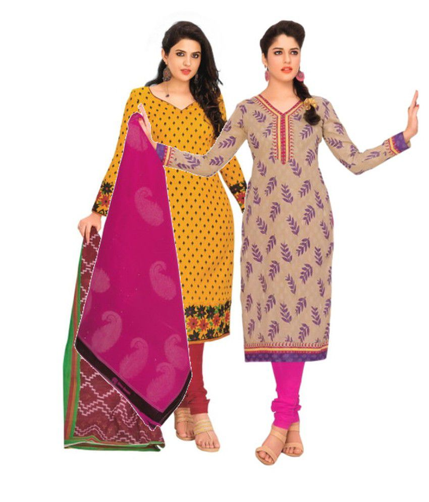 Divi Combo of Yellow and Brown Cotton Unstitched Dress Materials (Set of 2)