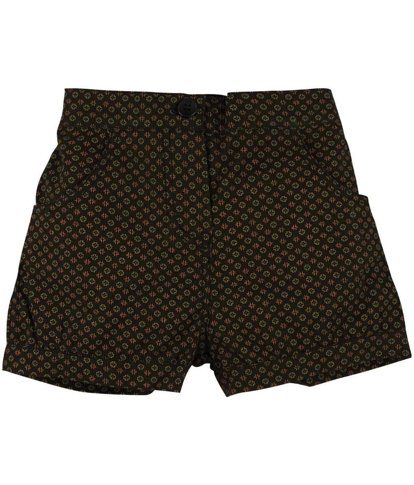 Oyez Black and Green Cotton Shorts
