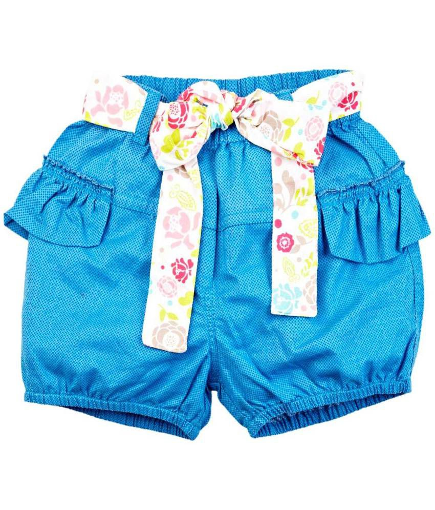 Oyez Blue Cotton Shorts