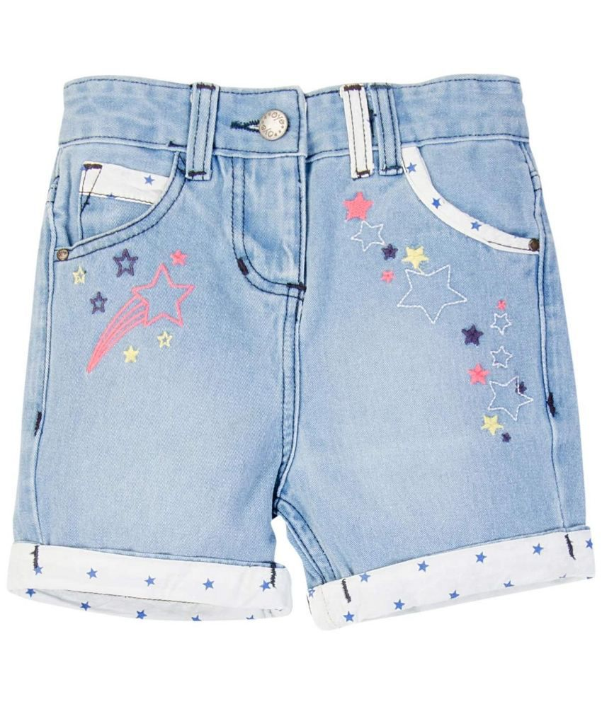 Oyez Blue and White Denim Shorts
