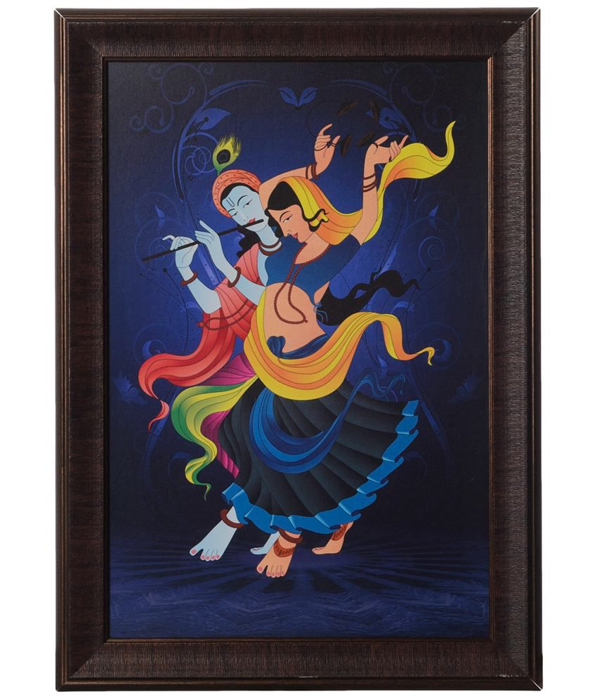 eCraftIndia Blue & Yellow Dancing Radha Krishna Satin Framed UV Art Print Painting