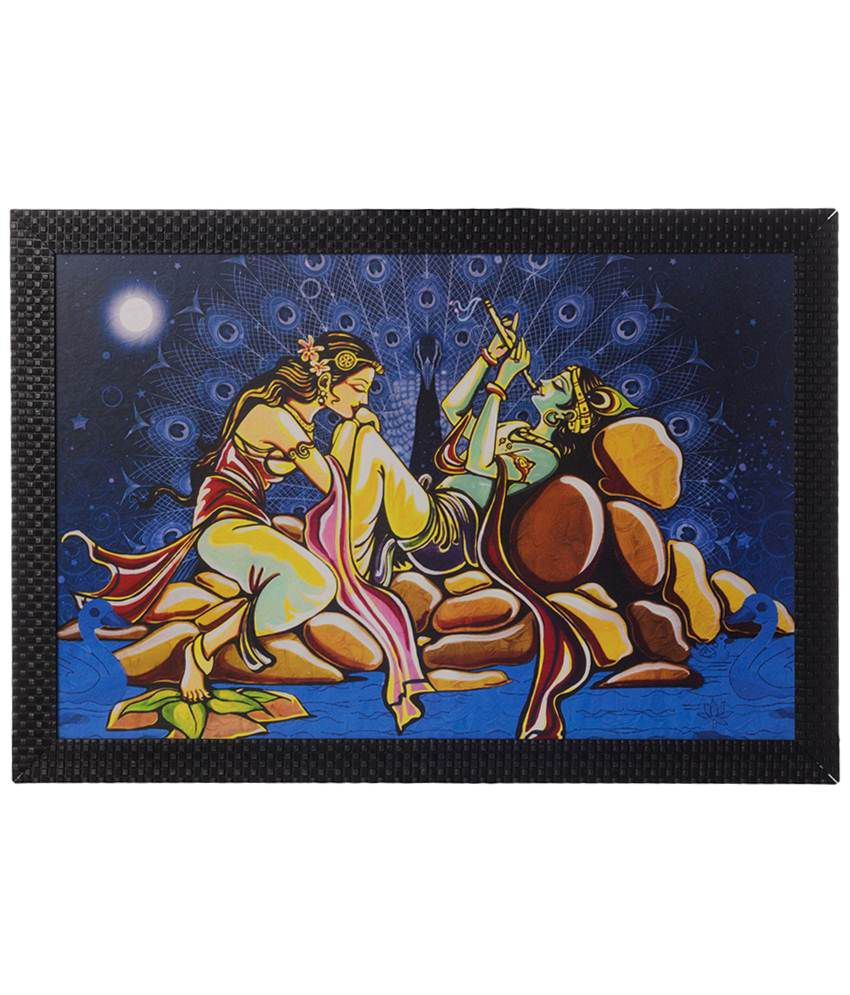 eCraftIndia Blue & Yellow Radha Krishna Love Moments Satin Framed UV Art Print Painting