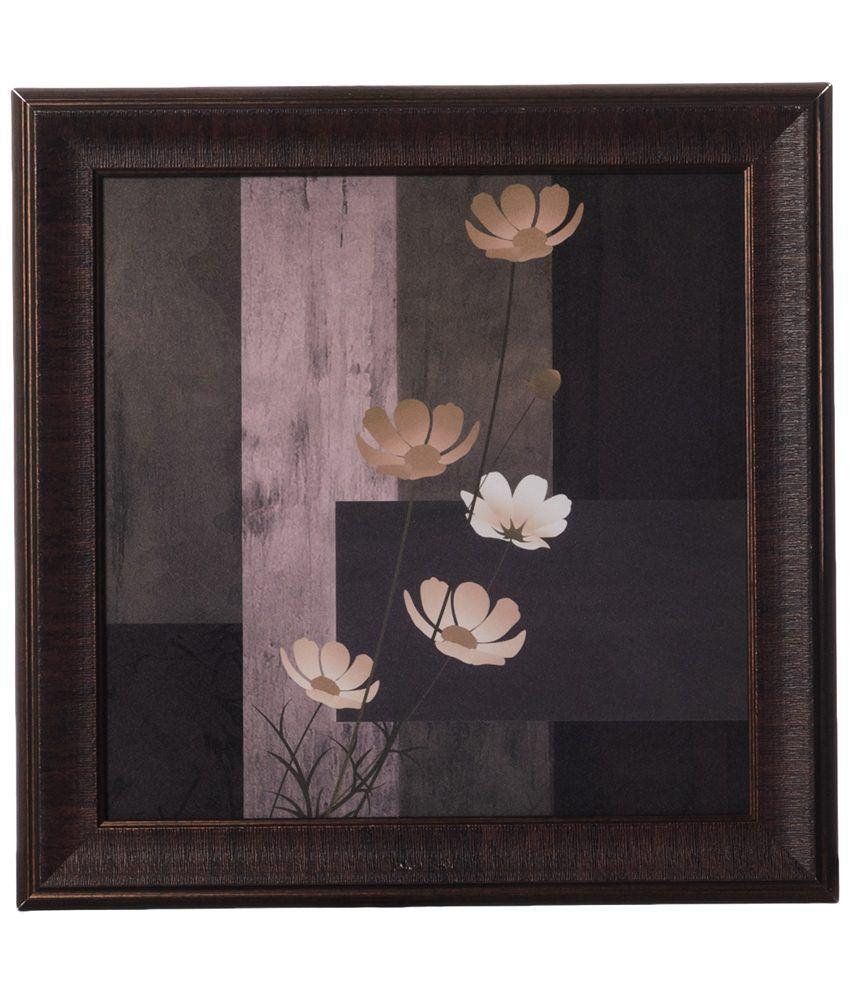 eCraftIndia Brown & White Floral Velvet Touch Framed Reprint Painting