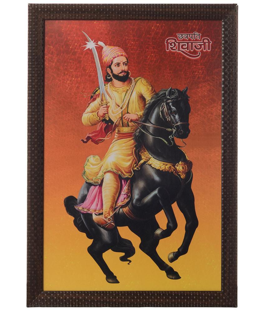 eCraftIndia Orange & Black Shivaji Maharaj Satin Framed UV Art Print Painting