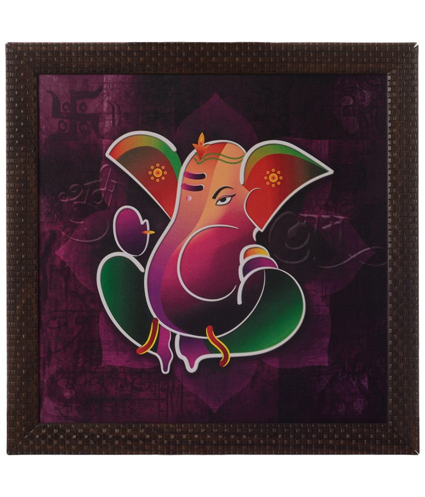 eCraftIndia Purple & Green Lord Ganesha Satin Framed UV Art Print Painting