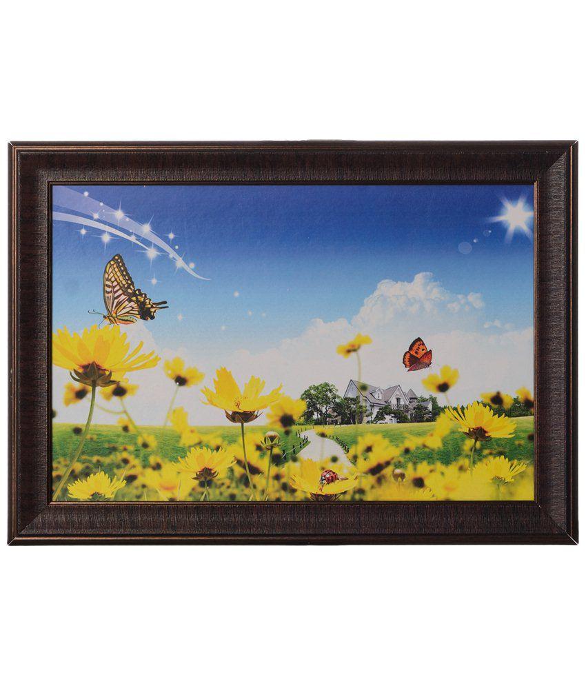 eCraftIndia Sky Blue & Yellow Butterflies Satin Framed UV Art Print Painting