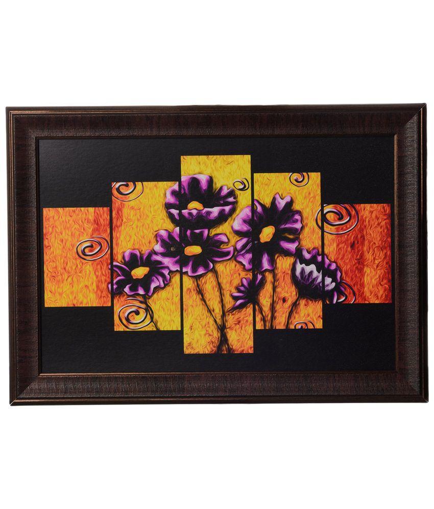 eCraftIndia Yellow & Purple Floral Satin Framed UV Art Print Painting