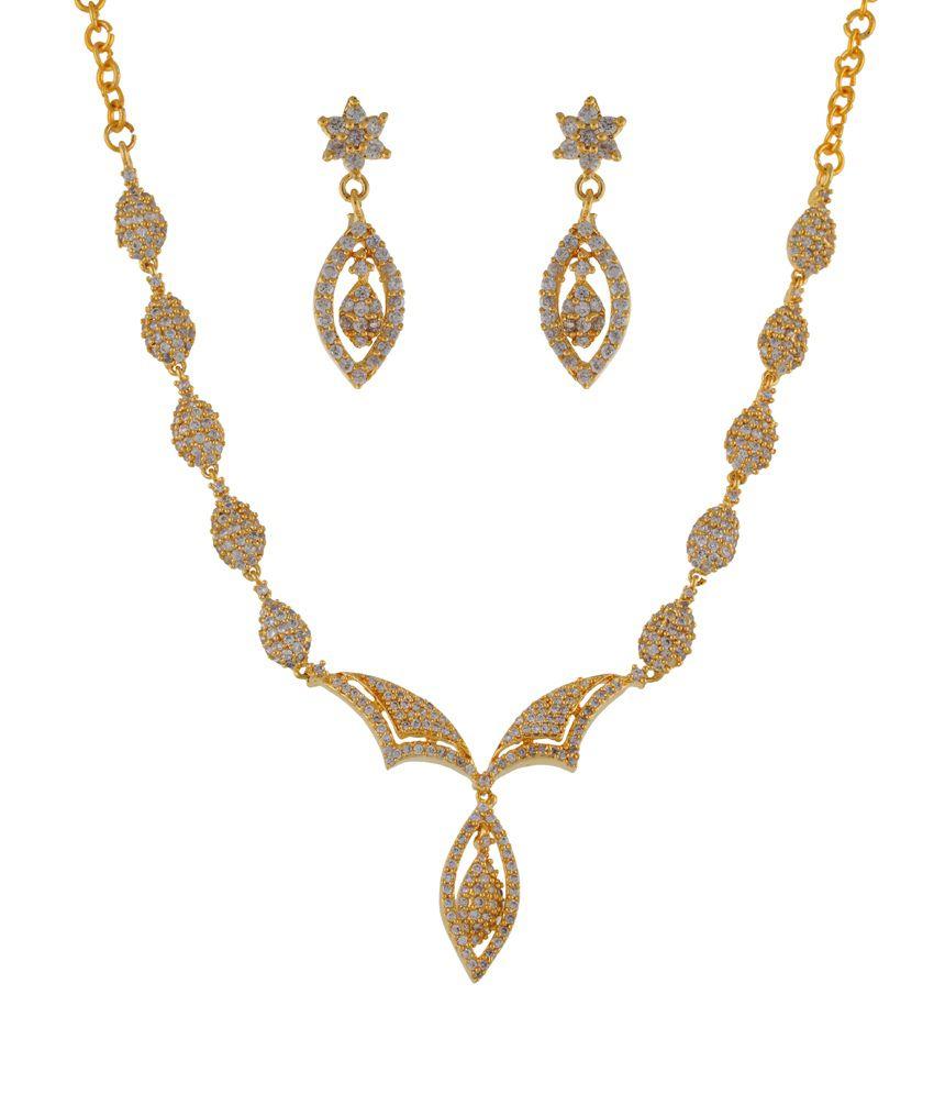 Freshme Fashion Jewellery Gold Plated Designer Necklace Set
