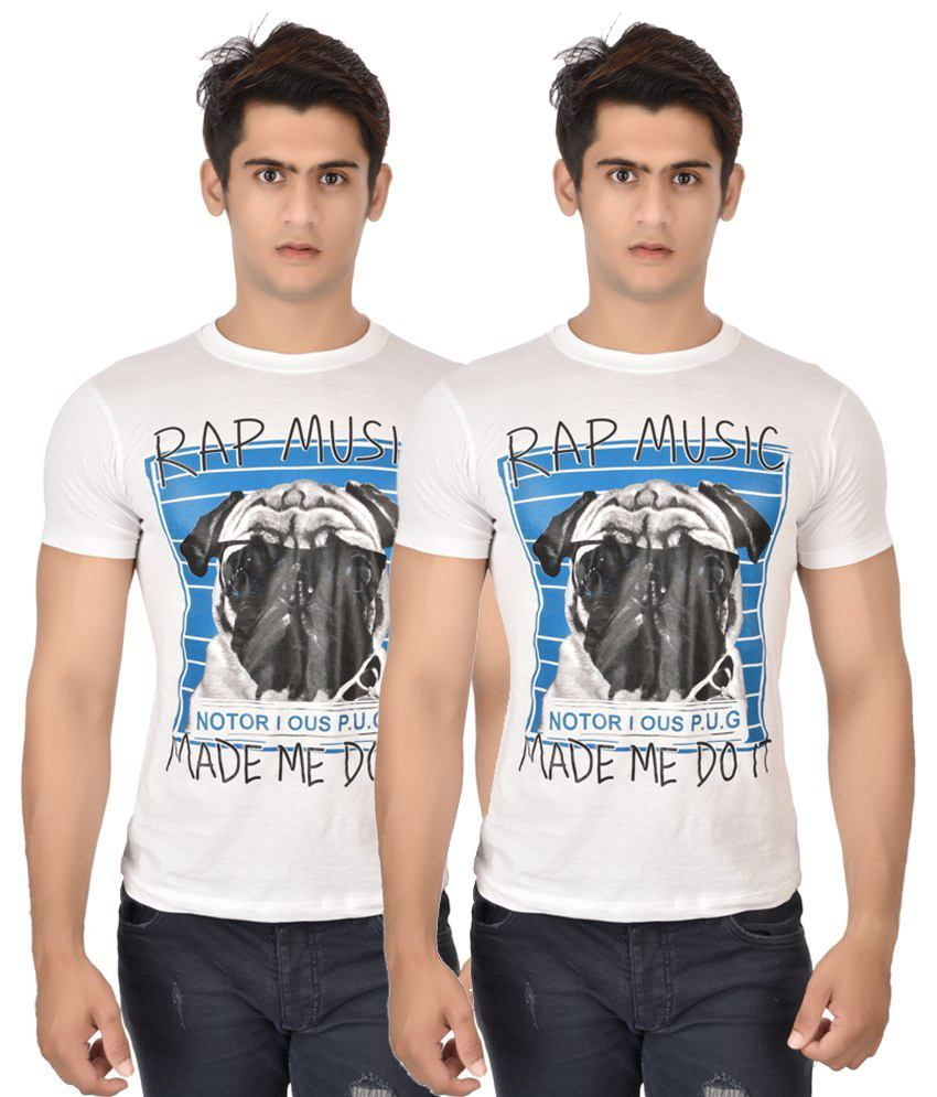 Mall4all Pack of 2 White & Blue Rap Music Half Sleeve T Shirts