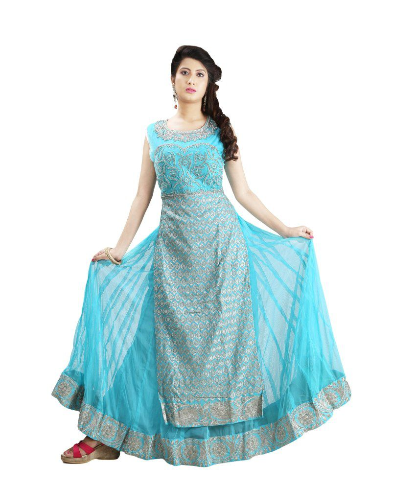 Sharmili Blue Net Stitched Suit