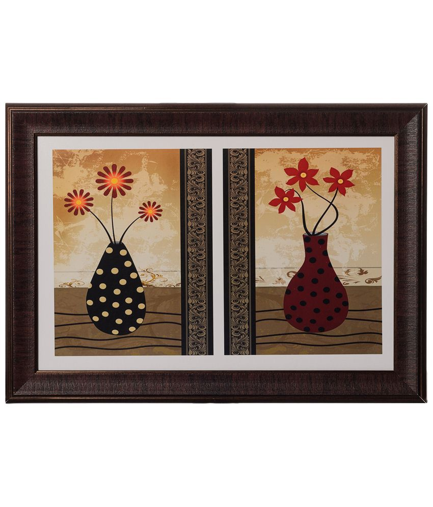 eCraftIndia Beige & Brown Floral Pots Satin Framed UV Art Print Painting