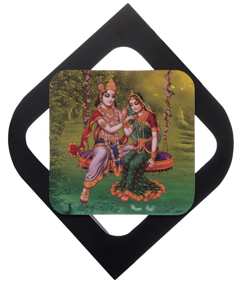 eCraftIndia Black & Green Radha Krishna Velvet Touch Reprint Painting