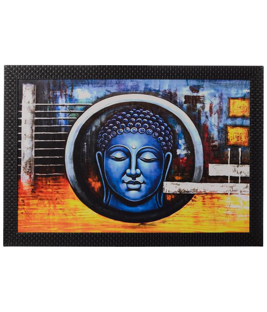 eCraftIndia Blue & Yellow Spiritual Buddha Satin Framed UV Art Print Painting