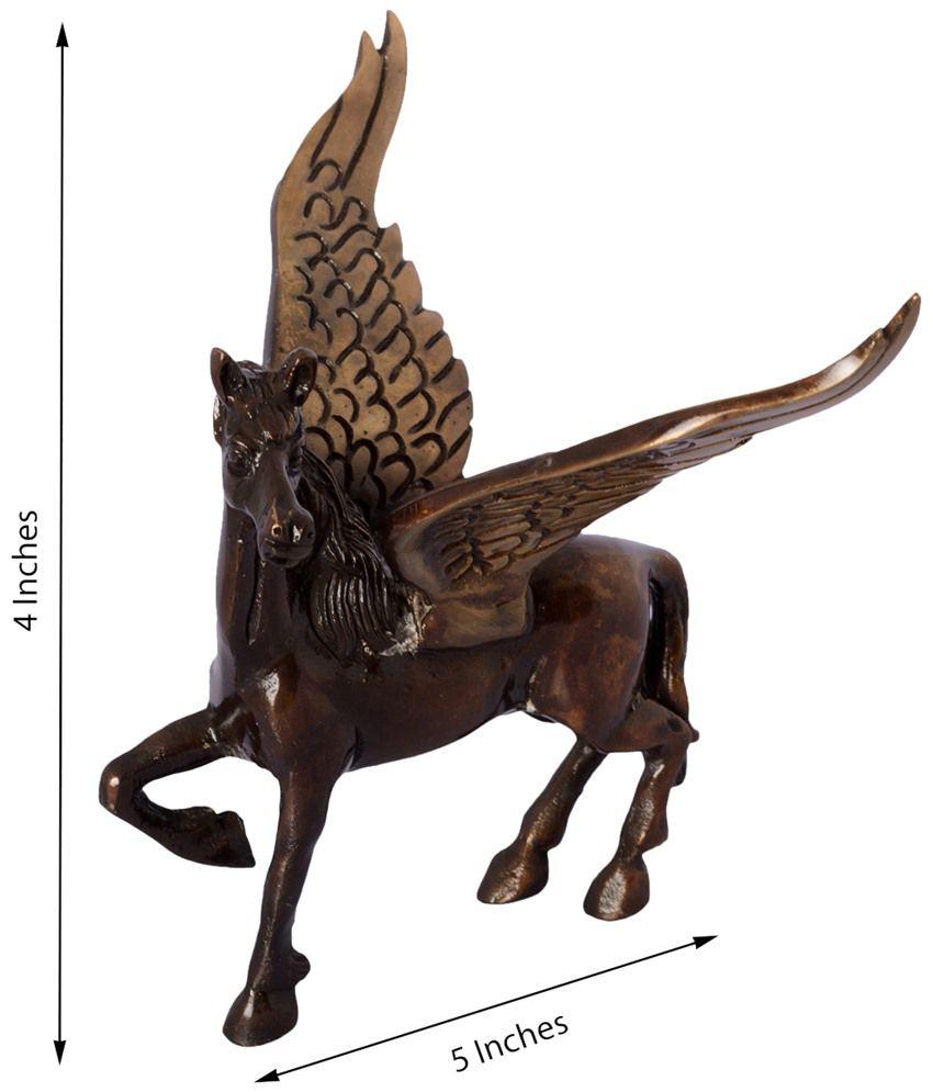 eCraftIndia Brown & Black Brass Antique Flying Angel Horse Showpiece