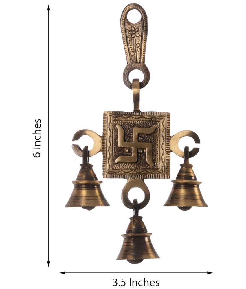 eCraftIndia Brown & Golden Swastik Brass Hanging Bells