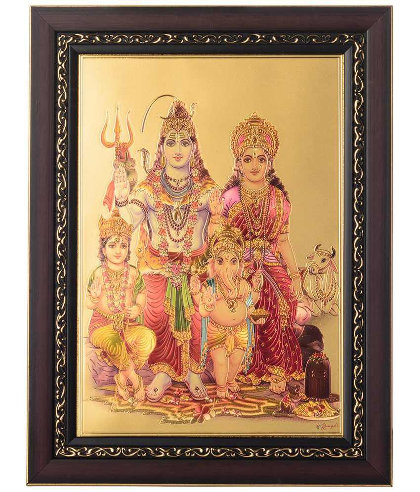 eCraftIndia Golden & Pink Shiva Parvati Framed Laminated Foil Painting