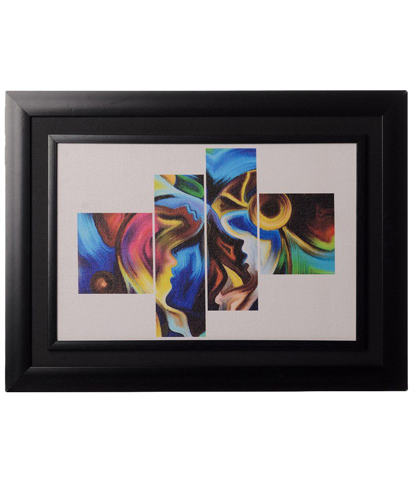 eCraftIndia Multicoloured Abstract Framed Canvas Reprint Oil Painting