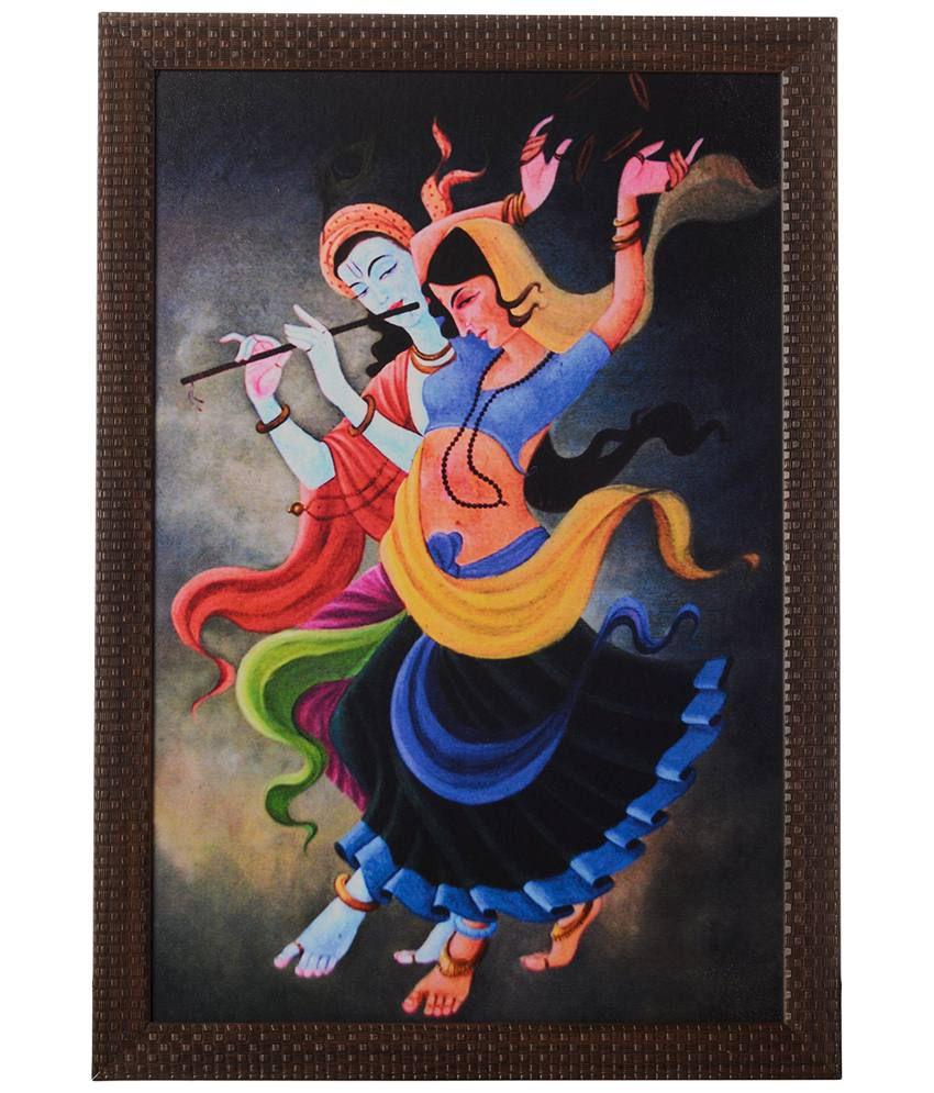 eCraftIndia Multicoloured Dancing Radha Krishna Satin Framed UV Art Print Painting