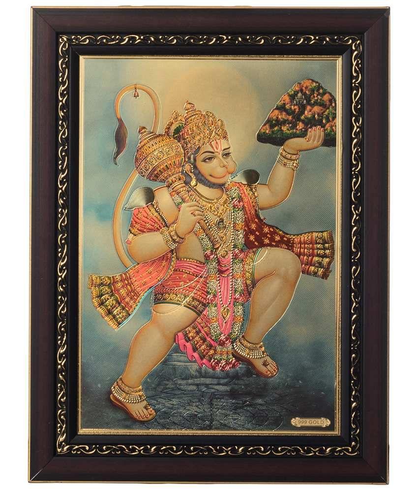 eCraftIndia Multicoloured Flying Hanuman Framed Laminated Foil Painting