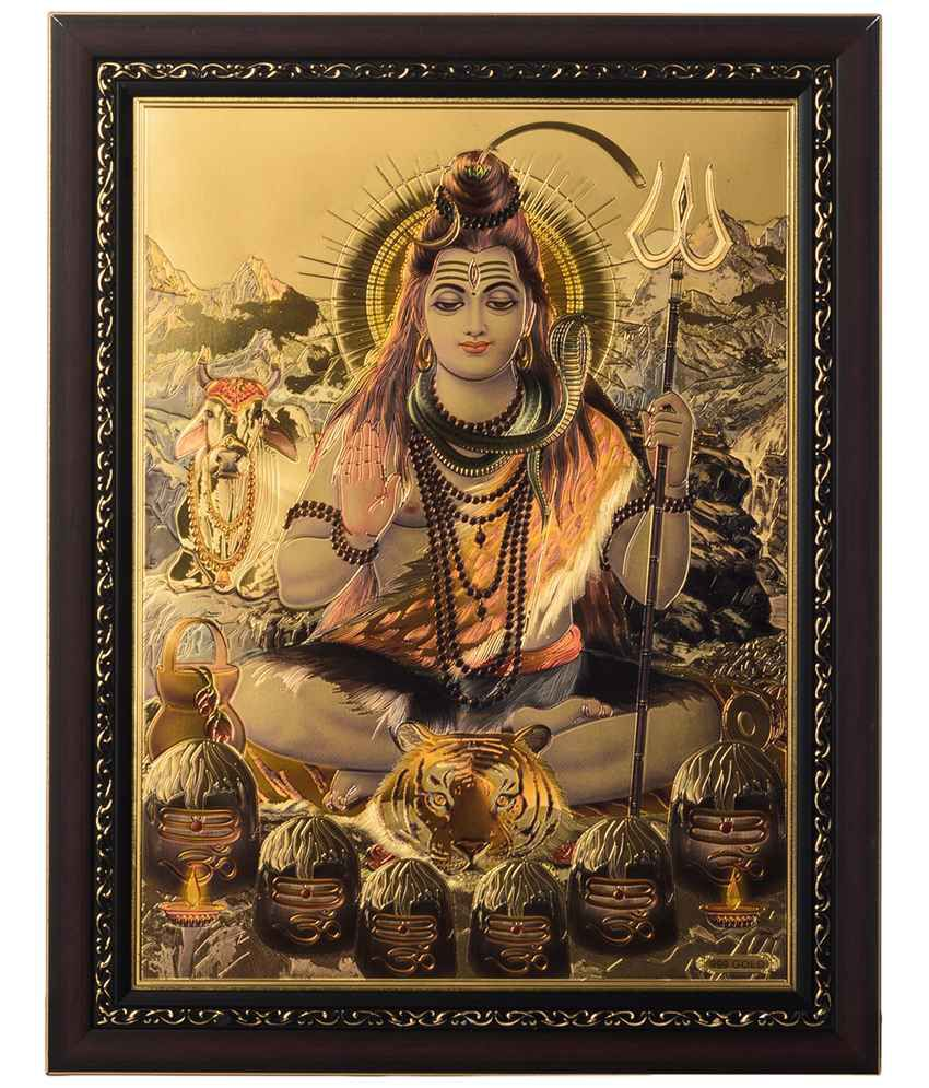 eCraftIndia Multicoloured Lord Shiva Swami Framed Laminated Foil Painting