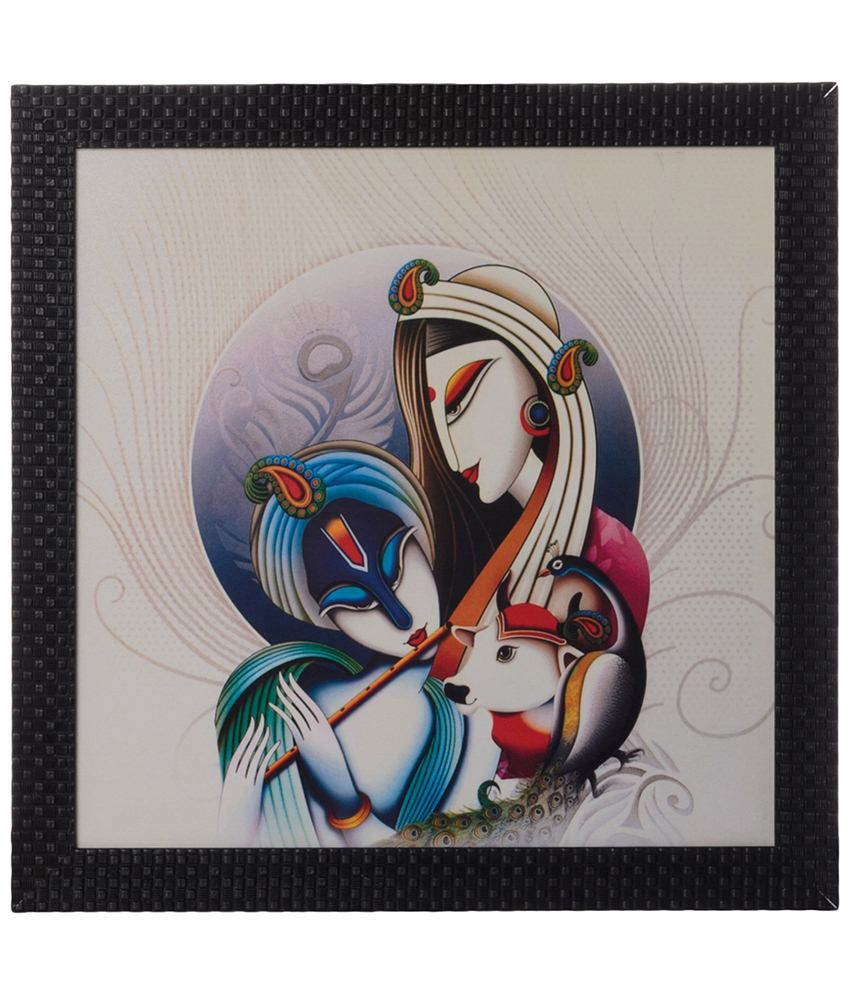 eCraftIndia Off White & Blue Radha Krishna Satin Framed UV Art Print Painting
