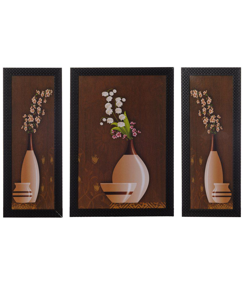 eCraftIndia Pack of 3 Brown & Beige Floral Pot Satin Framed UV Art Print Paintings