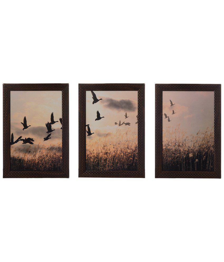 eCraftIndia Pack of 3 Gray & Brown Flying Birds Satin Framed UV Art Print Paintings