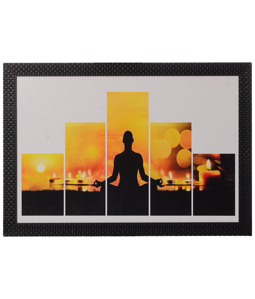 eCraftIndia Yellow & Black 5 Cut Set of Man doing Yoga Satin Framed UV Art Print Painting