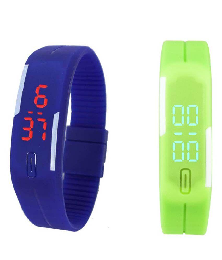 Lime Blue & Green Digital Kids Wrist Watch
