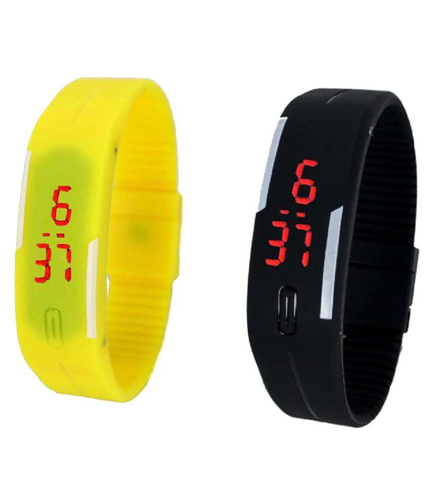 Lime Yellow & Black Digital Kids Wrist Watch