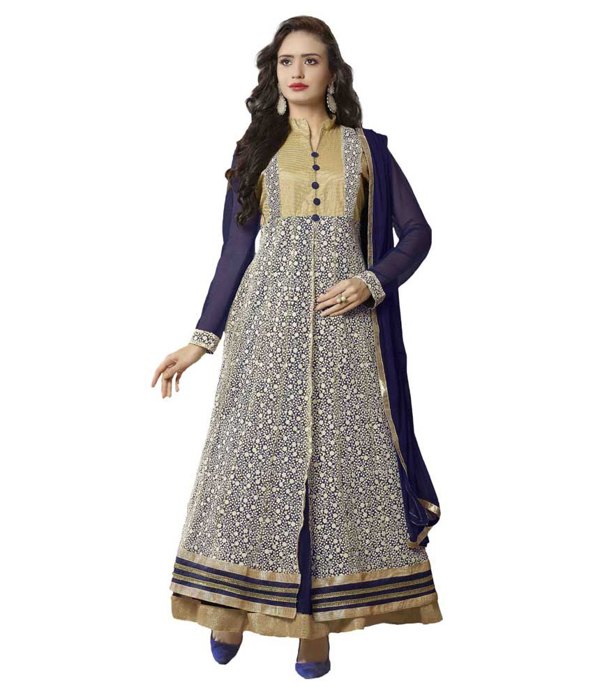 Prachi Silk Mills Blue Net Semi Stitched Dress Material