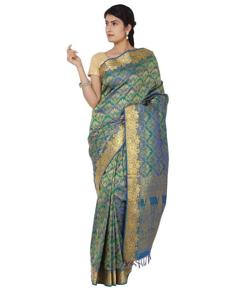 Thara Sarees Green Art Silk Saree