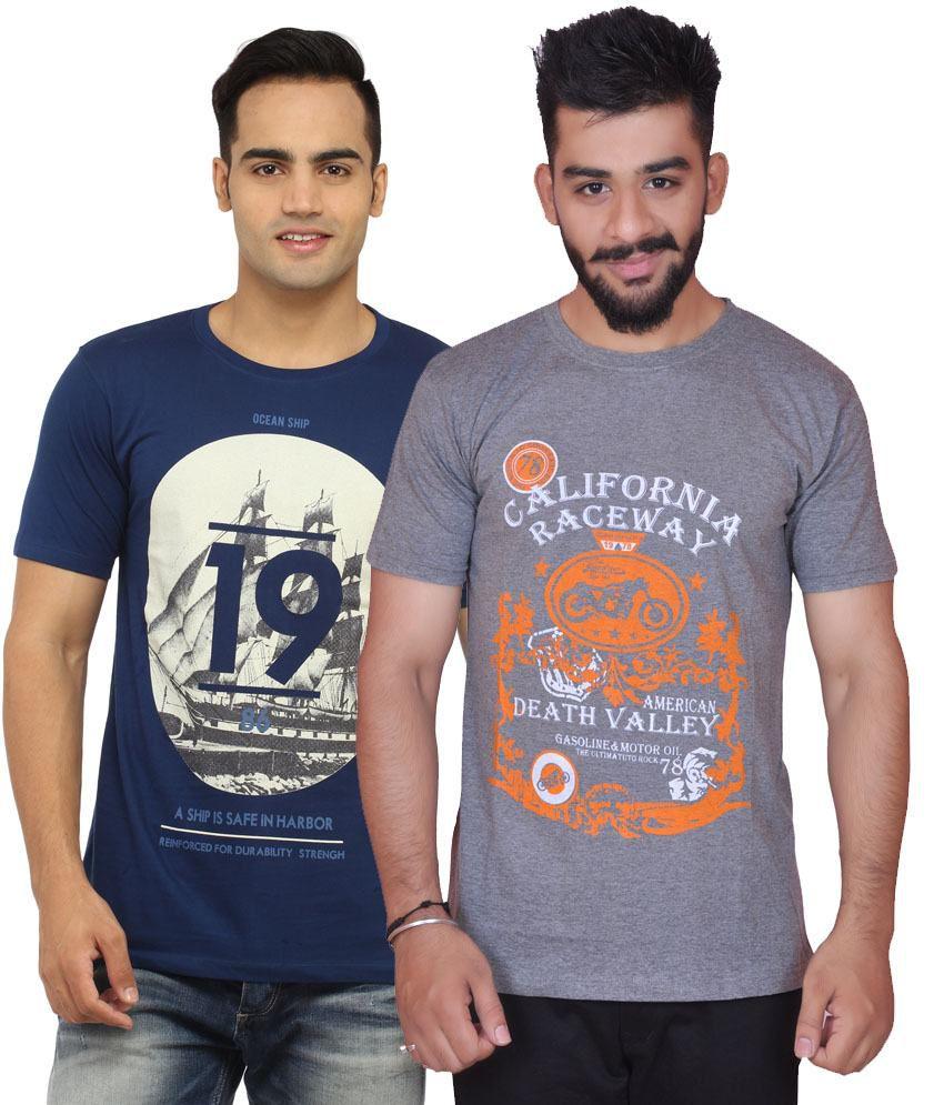 Inez Multicolour Cotton Blend T-shirt - Pack Of 2