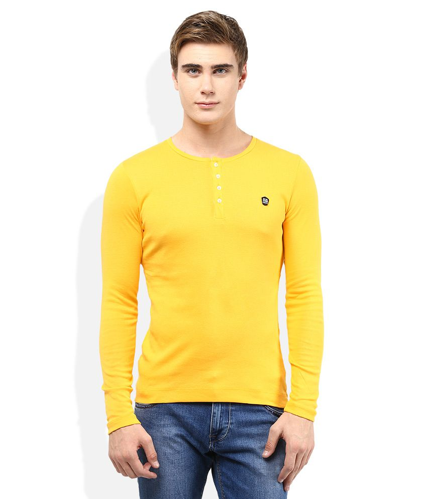 Lawman Pg3 Gold Solid Henley T Shirt